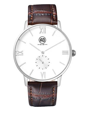 AIBI Mens Fashion Wrist Watch Japanese Quartz Stainless Steel Real Leather Strap