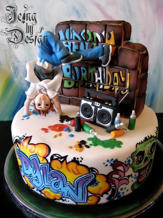 This cake took four hours to complete. I started painting eight in the evening and worked right through the night. The client gave a bunch of graffiti reference photo's and I used them but changed the designs, colours etc. Everything is hand...