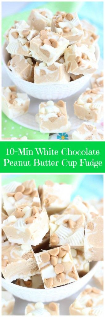 Ready in minutes, this white chocolate fudge is loaded with peanut butter cups, peanut butter chips, and what else – peanut butter!