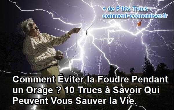Pour éviter un accident tragique à cause de la foudre, il existe des règles de prudence à connaître et à adopter.  Découvrez l'astuce ici : http://www.comment-economiser.fr/10-trucs-a-savoir-pour-eviter-la-foudre-pendant-un-orage.html?utm_content=buffer490f8&utm_medium=social&utm_source=pinterest.com&utm_campaign=buffer