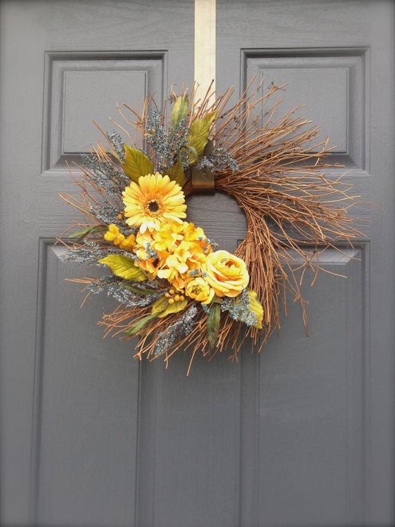 Yellow and Blue Wreath  Summer Wreath  Yellow by WreathsByRebeccaB, $46.00