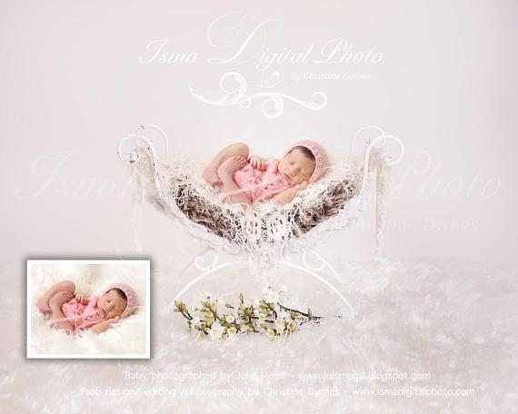 Eisen-Bett Stuhl - schöne digitale Neugeborenen Hintergrund - reduzierter Preis