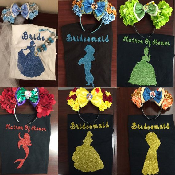 Disney princess inspired bridal shirts. by SparklesByKmichelle