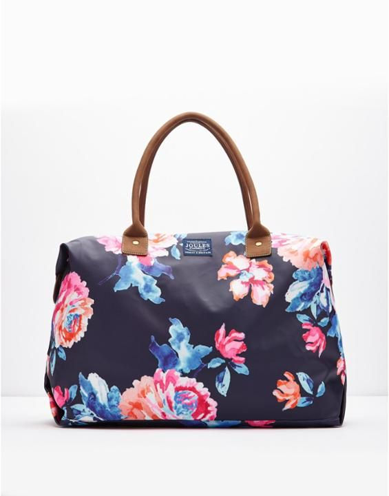 pack light, but pack smart -Kembry Navy Rose Printed Canvas Overnight Bag , Size One Size | Joules US