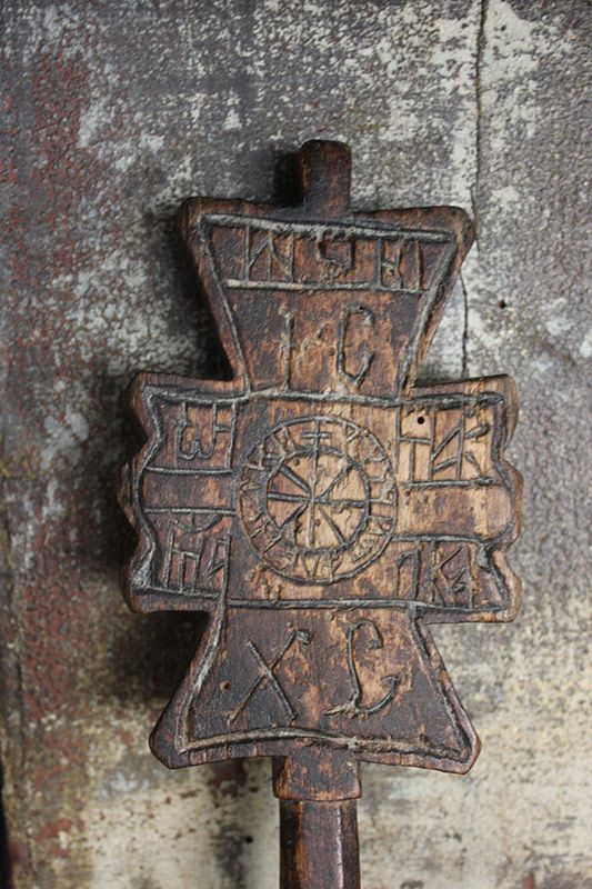 Carved wooden bread stamp from maramures