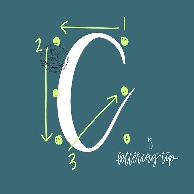 Lettering Technique: C   Trick for letter consistency: Maintain the same base shape. Start simple by making sure that your axis line is consistent throughout your alphabet.  . . . #calligranewbie #learnlettering #brushlettering #calligraphy