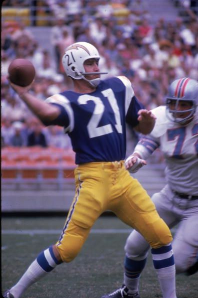 John Hadl Of The San Diego Chargers Throws A Pass Against