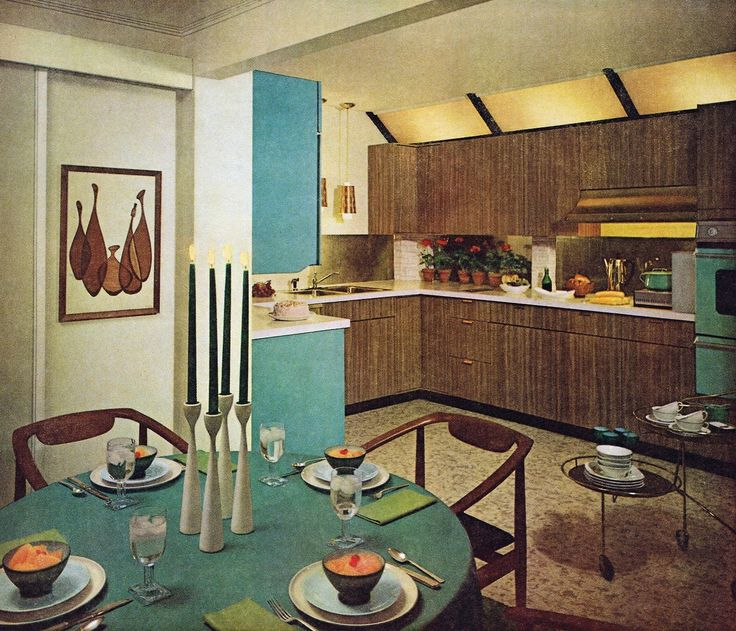 Kitchen design, 1961 Plenty of Formica and vinyl to go around.