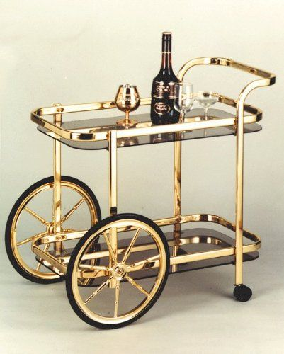 Lovely Bar Cart with Big Wheels