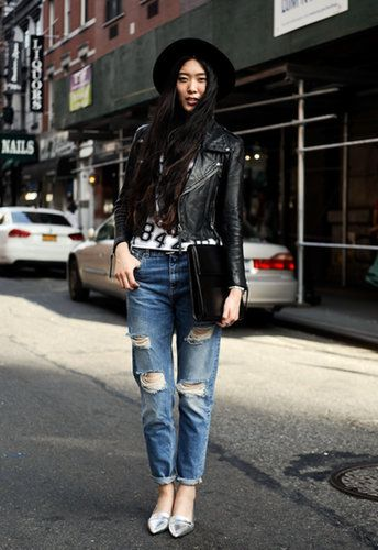 No need to ditch your favorite jeans come Fall — in fact, they're even better with layers. Toss on a black leather biker jacket over your favorite rocker tee and head out the door.  Source: Getty / Daniel Zuchnik