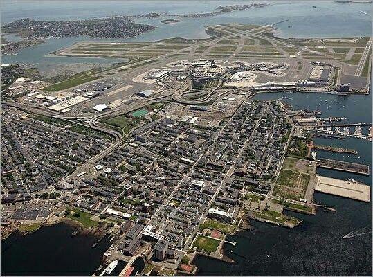AERIAL VIEW OF LOGAN INTERNATIONAL AIRPORT BOSTON
