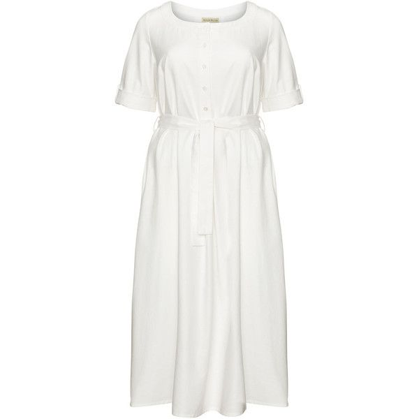 Isolde Roth Ivory-White Plus Size Midi belted shirt dress ($175) ❤ liked on Polyvore featuring dresses, plus size, white a line dress, plus size skater skirt, winter white dress, shirt dresses and plus size shirt dress