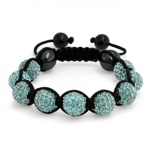 Blue Aquamarine Crystal Bead Hematite Shamballa Inspired Bracelet 12mm