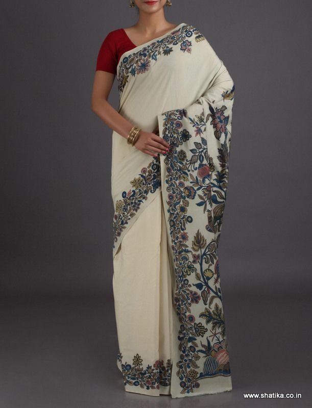 Katrina Bel Border Elegant Naturally Dyed #HandPainted #KalamkariPureSilkSaree