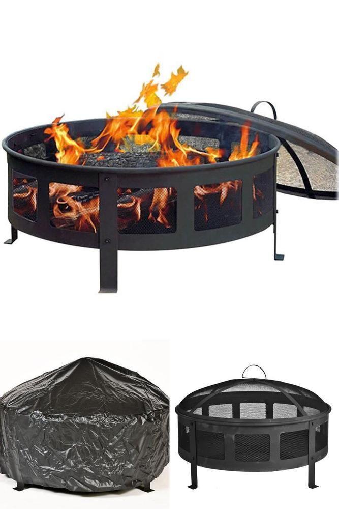 Outdoor Fire Pits Wood Burning Bowl Screen Protector Patio Backyard Heater #CobraCo