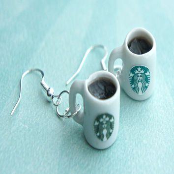 starbucks black coffee earrings