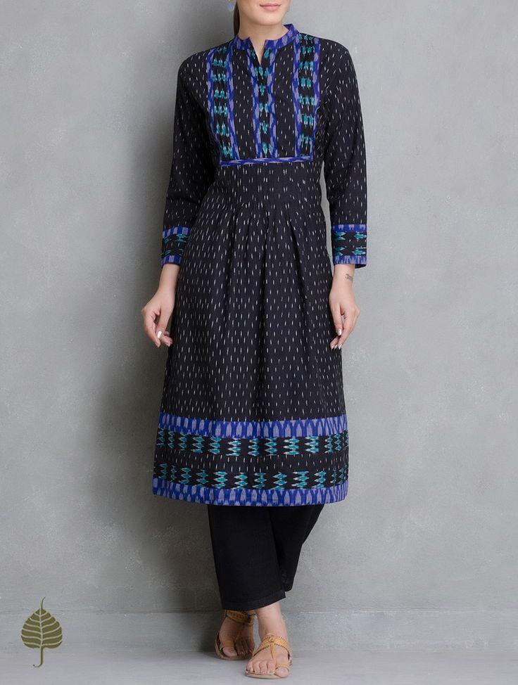 Buy Black Blue Ivory Handloom Ikat Cotton Pleated Kurta by Jaypore Women Kurtas Enigma and Pants Online at Jaypore.com