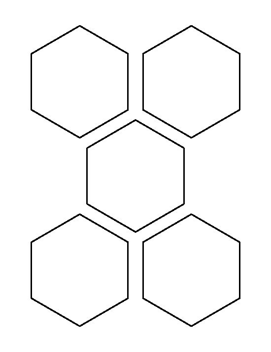 3.5 inch hexagon pattern. Use the printable outline for crafts, creating stencils, scrapbooking, and more. Free PDF template to download and print at http://patternuniverse.com/download/three-and-a-half-inch-hexagon-pattern/