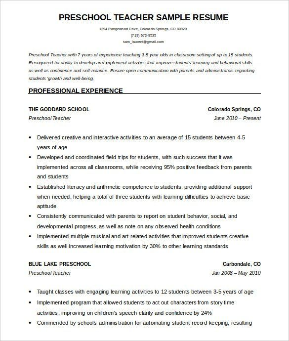 Resume Format Kindergarten Teacher With Images Teacher Resume Template Teacher Resume Template Free Teacher Resume Examples