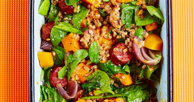 If you're in need of a quick, low-maintenance dinner this one-pan spelt with chorizo and sweet potato recipe from The Roasting Tin is perfect.
