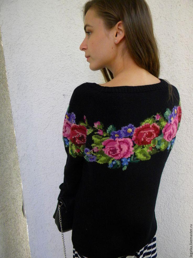 """Купить Джемпер с вышивкой""""Любимые розы"""". - свитер женский, свитер вязаный, свитер спицами, свитер с рисунком"""