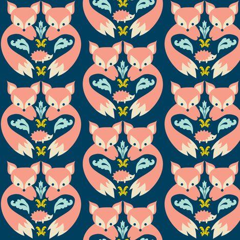 Fox Print Teal fabric by boredinc on Spoonflower - custom fabric