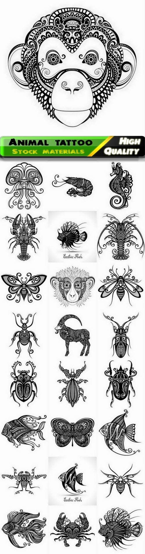 Ethnic tattoo of wild and sea animal with ornament and pattern - 25 Eps