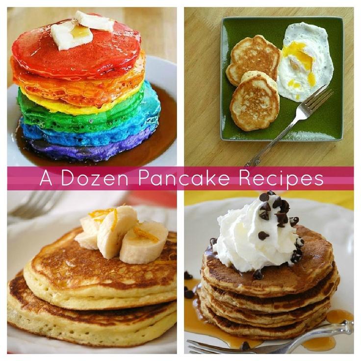 12 Pancake Recipes from rainbow pancakes to oatmeal pancakes!