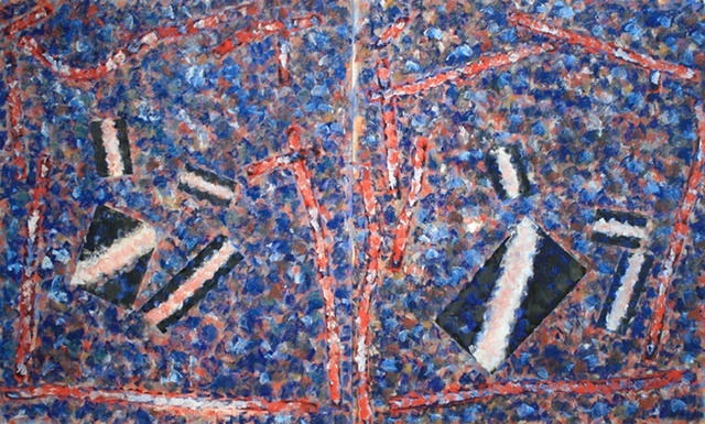 David Urban, The Riven Branch, Dyptych, 2012, Oil on Canvas, 144x60in  © Courtesy Corkin Gallery