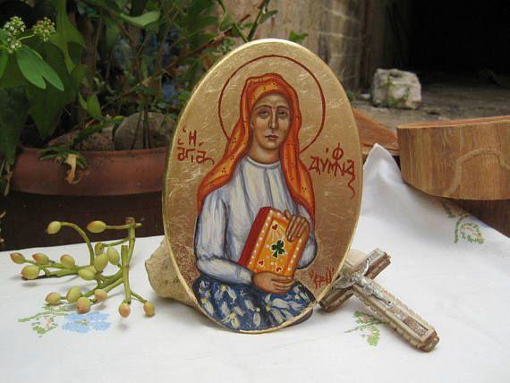 St Dymphna Irish saint byzantine catholic icon oval painting