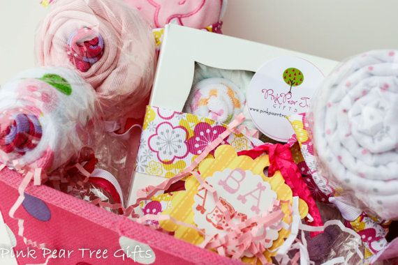 Great baby gift basket! Super cute and ready to give!   www.pinkpeartreegifts.etsy.com