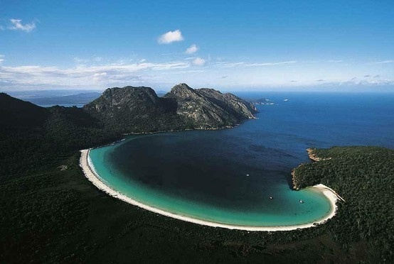 Wine Glass Bay, Freycinet National Park, Tasmania, Australia. I had the pleasure of living here, and working close by. Hiked this beautiful but difficult trail.