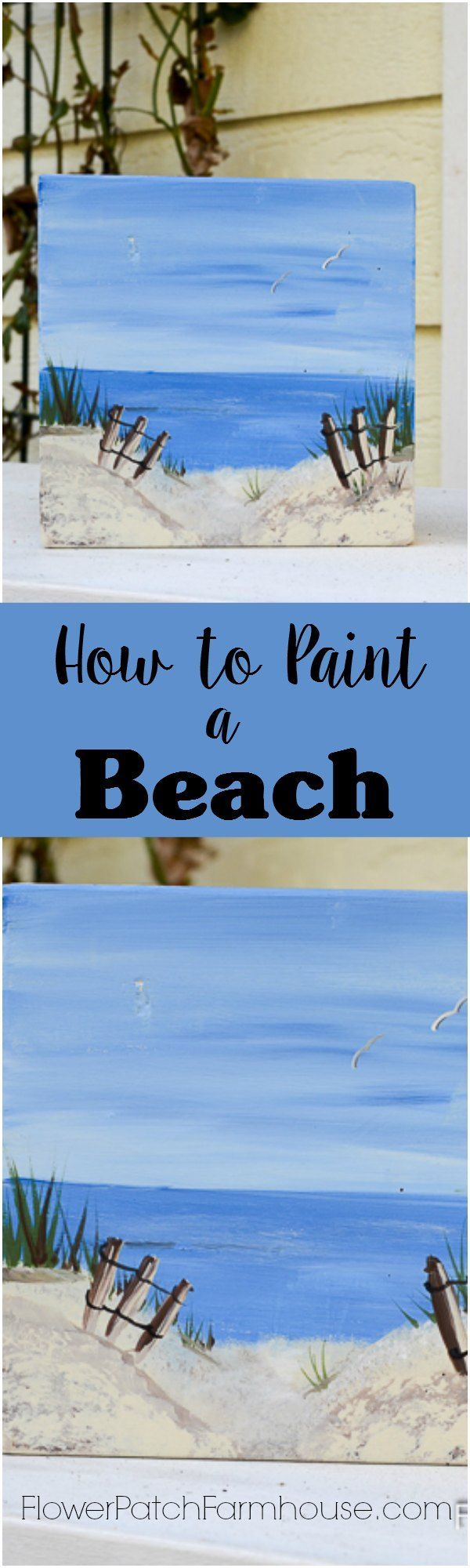 Learn How to Paint a Fun Beach Scene, easy painting tutorial for beginners. Great simple DIY decor, pallet project or just a fun craft.