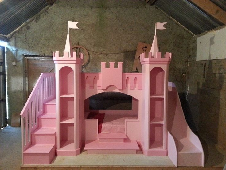 My daughter will have a Princess castle bed! I would put a desk where the bottom bunk is and use the towers as book shelves...