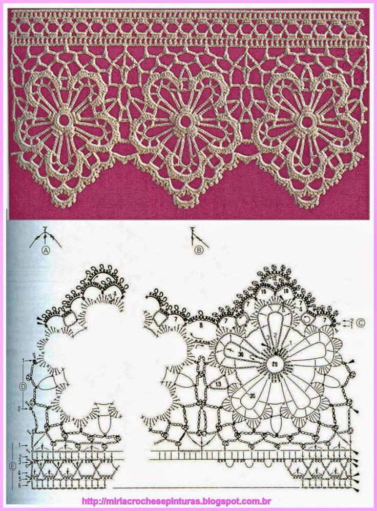 Crochet lace border edging - MIRIA CROCHÊS E PINTURAS
