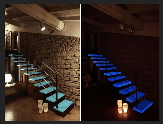 Glowing Stair Treads With Sky Blue Afterglow