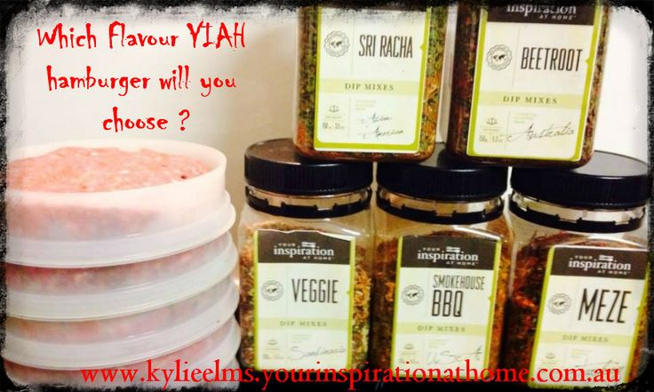 YIAH NOW has 21 amazing, inspiring, delicious DIP FLAVOURS to choose from ..... Never a DULL Burger again   Get the tongues wagging and mouths drooling over your next BBQ with assorted YIAH Inspired Burger Patties and Steaks   Our SIGNATURE RANGE of Dip Mixes will guarantee to satisfy everyones TASTES BUDS...  www.kylieelms.yourinspirationathome.com.au