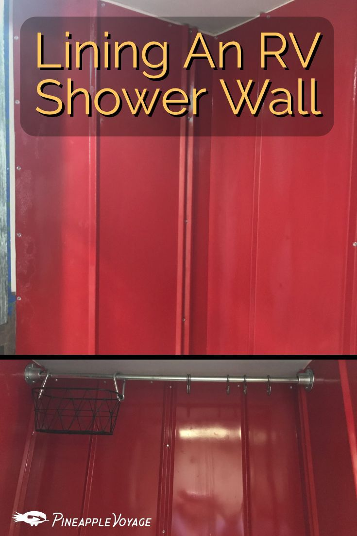 Installing Tin Roofing On The Shower Walls Pineapple Voyage Shower Wall Tin Shower Walls Shower Wall Panels