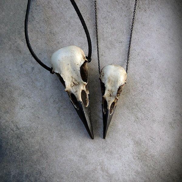 Raven Skull Duo: Bird Skull Necklace Set (Save 6%) Zombie Gift by RavenRanch on Etsy https://www.etsy.com/listing/166392826/raven-skull-duo-bird-skull-necklace-set