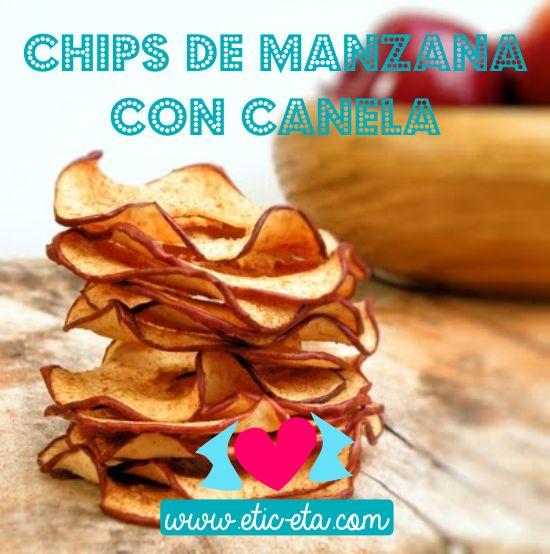 Chips de manzana con canela y miel, delicioso, sano y divertido! la receta está en nuestro blog: http://www.etic-etac.com/blog/receta-para-ninos-chips-de-manzana-con-canela/