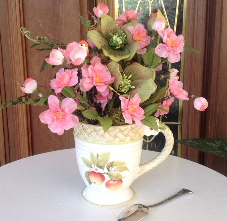 Faux Flower Arrangement, Lenten Winter Rose, Home Decor, Coffee Mug Gift Idea - pinned by pin4etsy.com