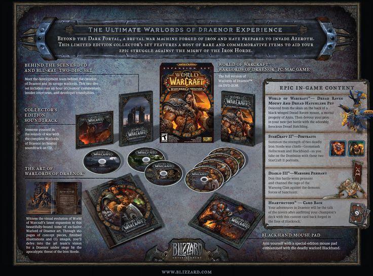 """Contenuti della Collector's Edition: World of Warcraft: Warlords of Draenor Set di due DVD e Blu-ray""""dietro le quinte"""" Colonna sonora della Collector's Edition  The Art of Warlords of Draenor Tappetino per mouse """"Manonera""""  Epici contenuti di gioco:"""