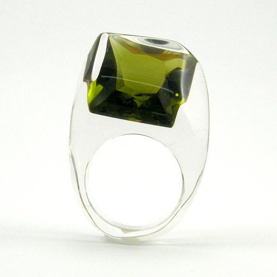 Sylwia Calus | Sisicata on Etsy | Green Olive Crystal Ring, Clear Resin Ring with Square Deep Forest Zirconia, Modern Jewelry