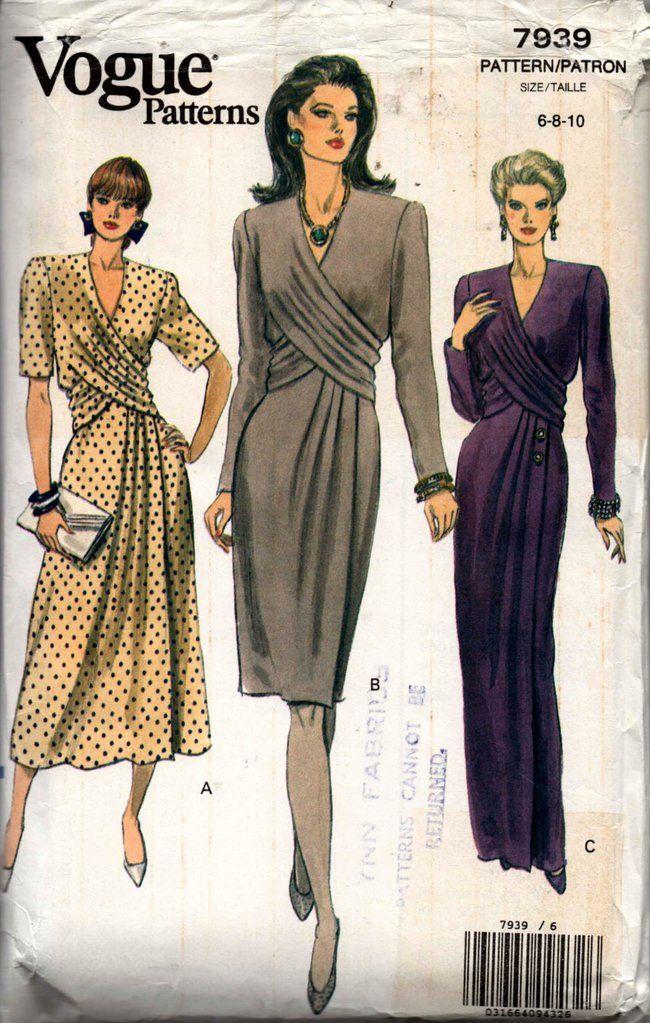 Vogue 7939 Womens Draped Bodice Evening Dress 90s Vintage Sewing Pattern Size 6 8 Vintage Sewing Patterns Vintage Sewing Vintage Sewing Patterns Free