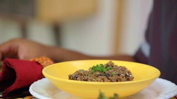 Risoto ao funghi com biomassa de banana verde: receita da Bela Gil par o Bela Cozinha (Foto: Divulgao/GNT)