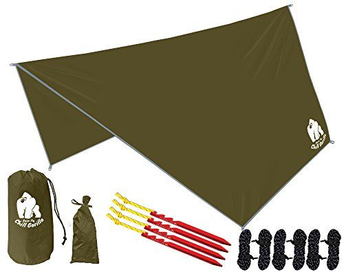 CHILL GORILLA HEX HAMMOCK RAIN FLY TENT TARP Waterproof Camping Shelter. Essential Survival Gear. Stakes Included. Lightweight. Easy to setup. RIPSTOP Nylon. OD GREEN. For product & price info go to:  https://all4hiking.com/products/chill-gorilla-hex-hammock-rain-fly-tent-tarp-waterproof-camping-shelter-essential-survival-gear-stakes-included-lightweight-easy-to-setup-ripstop-nylon-od-green/