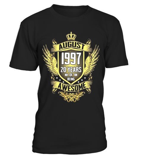 """# August 1997 Shirt, 20 Years of Being Awesome T-shirt - Limited Edition .  Special Offer, not available in shops      Comes in a variety of styles and colours      Buy yours now before it is too late!      Secured payment via Visa / Mastercard / Amex / PayPal      How to place an order            Choose the model from the drop-down menu      Click on """"Buy it now""""      Choose the size and the quantity      Add your delivery address and bank details      And that's it!      Tags: This is a…"""
