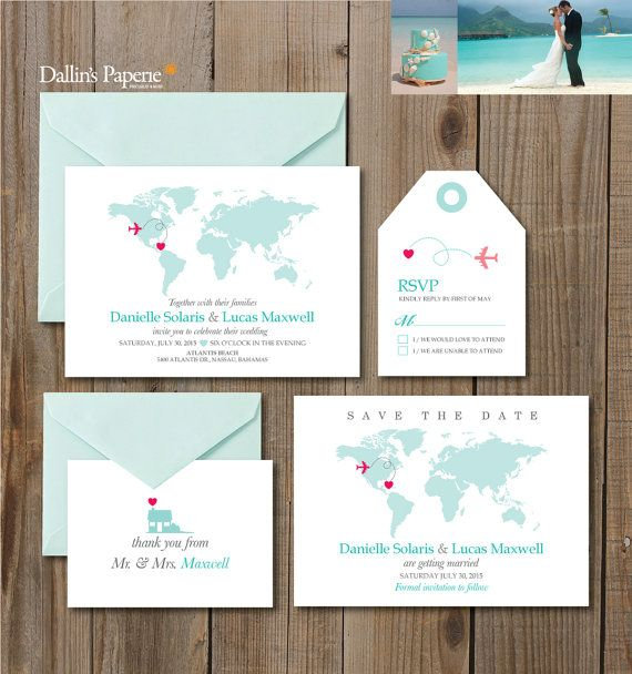 Destination or beach wedding with Unique one of a kind invitation set. No printed materials will be shipped. You can print as many as you want! (Envelope NOT included) How it works 1. Let us know the information below during check out. (Note section) -- Names of the Bride and Groom -- Wedding day of the week, month, date, year, time -- Name of the wedding venue and address -- RSVP Reply date -- Location of the Plane & Location of Heart (Where your are from and where you are going to get…