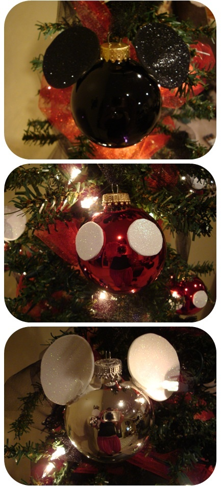 Mickey ornaments!  Couldn't find anything that I liked commercially available, so I made my own!