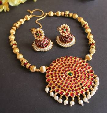 Beautiful meenakari huge pendant temple necklace set, designs of pearl jewellery, anusuya jewellery, traditional south indian jewellery online, jewellery online shopping sites, replica jewellery online, kundan jewellery designs, I found this beautiful design on Mirraw.com